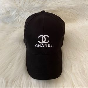 Double C Chanel Embroidered Black Hat